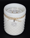 Holiday Hearth - Christmas Collection White Vintage Hobnail Jar Candle