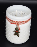 Gingerbread Cookie - Christmas Collection White Vintage Hobnail Jar Candle