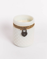 White Vintage Hobnail Candle with Heart Locket